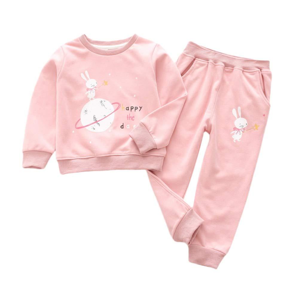 Oldeagle Toddler Kids Baby Girls Boys Cartoon Rabbit Print Tops Solid Pants 2PCs Outfits Set