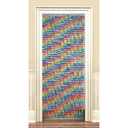 Sun-Sational Summer Luau Party Flower Filled Door Curtain Decoration, Fabric, 78
