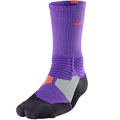 Nike Men's Hyper Elite Crew Socks (Large, Light Photo Blue/Bright Crimson)