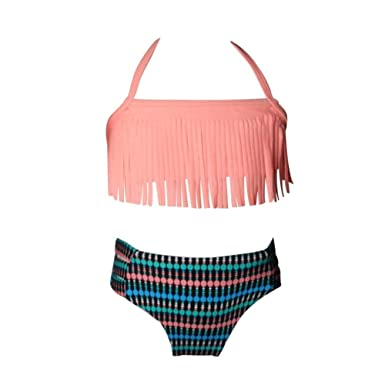 dcfac23d72 Image Unavailable. Image not available for. Color  Girls Split Swimsuit  Tassel ...