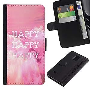 LASTONE PHONE CASE / Lujo Billetera de Cuero Caso del tirón Titular de la tarjeta Flip Carcasa Funda para Samsung Galaxy Note 4 SM-N910 / Happy Life Quote Happiness Lifestyle Positive