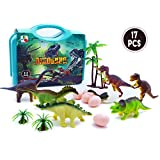 Dinosaur Toys for 3, 4, 5, 6, 7 Year Old Boys Toddlers Kids , 17 Piece Mini Plastic Dinosaur Figures Eggs Trees Set with Carrying Case, Best Educational Toy Gifts for Birthday Party Supplies Favors
