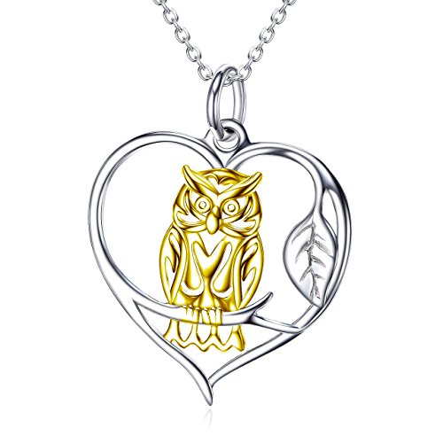 925 Sterling Silver 24K Gold Owl Heart Animal Pendant Necklace 18
