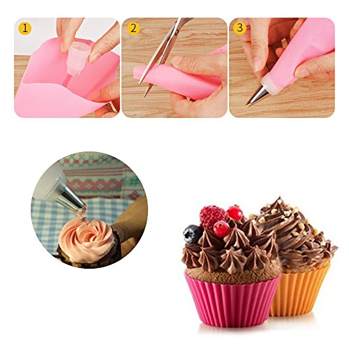LKE 24pcs/set Nonstick Cupcake Molds, Reusable and Heat Resisant Baking Cups, Round / Heart / Rose / Star Shape Silicone Cake Muffin Molds for Professional or Starter Cooker(Pack of 24)