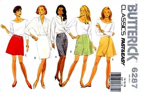 Para mujer falda pantalones cortos Skort Butterick 6287 – Patrones ...
