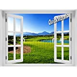 Quick Murals Peel and Stick 48inch W x 36inch H 3D Instant Window Wall Mural PRINTED ON SELF ADHESIVE CANVAS! Removeable & Re-usable! (Golf Green window)