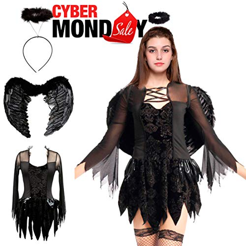 Halloween Fallen Angel Costumes Feather Wings Cosplay Halo