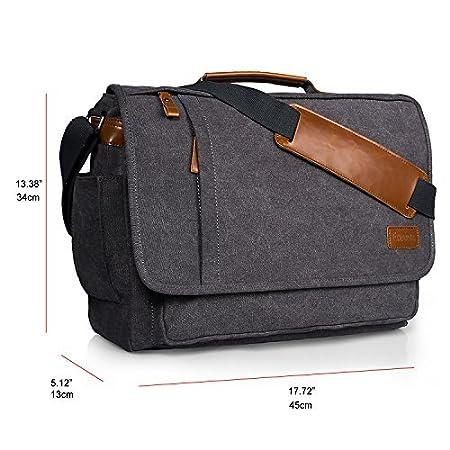 Estarer Mens 15-15.6 inch Laptop Bag Computer Messenger Satchel Briefcase Work Shoulder Bag Grey