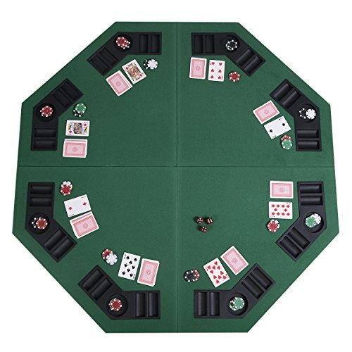 48'' Green Octagon 8 Player Four Fold Folding Poker Table Top & Carrying Case New by AJ SHOP