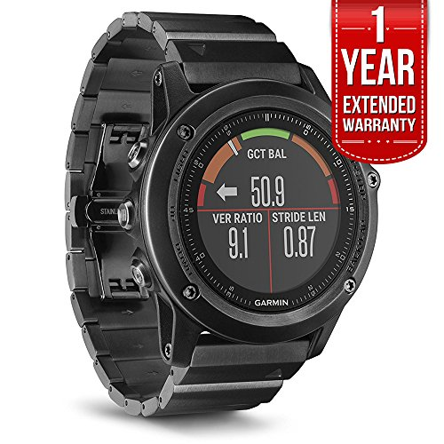 Garmin fenix 3 HR Activity Tracker (with Stainless Steel Band) Plus Extended Warranty by Garmin