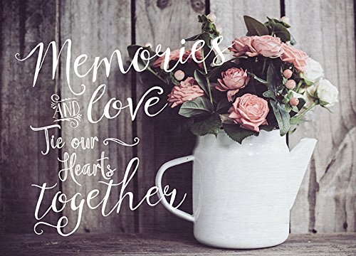Photo Light Box Insert - Flowers - Memories and Love Tie Our Hearts Together - Photo Box Sold Separately - Measures 5