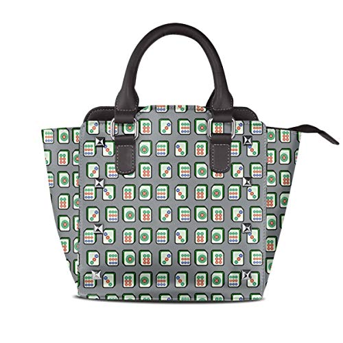 Dreaamy Mahjong China Chinese Fun Womens Fashion PU Leather Shopper Handbag Retro Rivet Design Purse Crossbody Bag With Handle Tote Bag