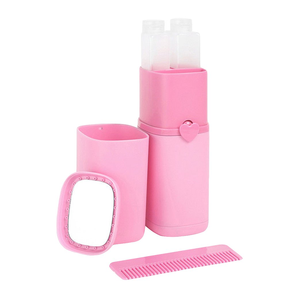 millet16zjh Outdoor Space Saver 5Pcs Portable Gargle Cup Shampoo Sub-Bottle Comb Make-up Mirror Travel Wash Kit