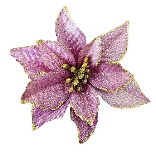 (Christmas Glitter Poinsettia Christmas Tree Ornaments Pack Of 12 (Purple))