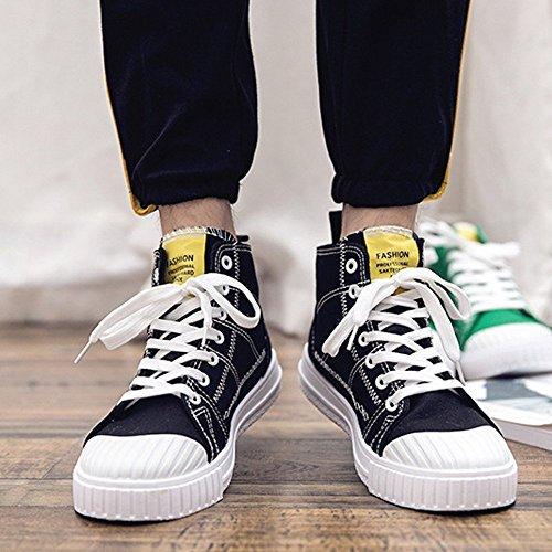 Lona Deportivos Otoño 2018 Altos Cordones Ocasionales para Zapatos Mocasines de monocromos Planos Zapatos Verano Negro Hombre con R16wq1xAt