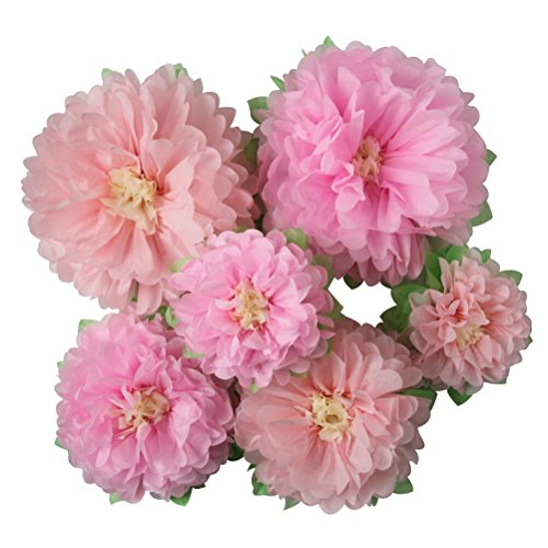 Mybbshower Pinks Paper Flowers Nursery Home Wall Decoration Bridal Baby Shower Wedding Archway Background Pack of 6 ()