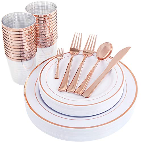 WDF 25Guest Rose Gold Plastic Plates with Rose Gold Silverware,Disposable Cups-include 25 Dinner Plates, 25 Salad Plates, 50 Forks, 25 Knives, 25 Spoons &Plastic Cups/Bonus 25 Mini Forks -