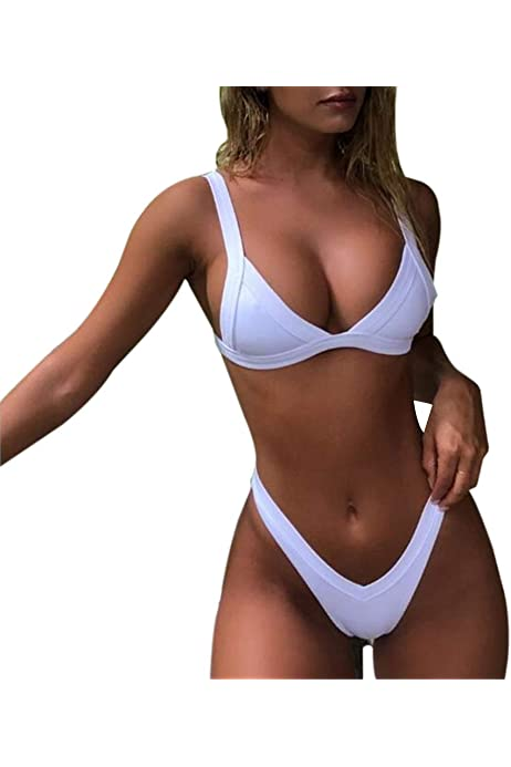 Women Summer Push Up Bikini Set U Neck Wide Straps Padded Swimwear Beachwear Swimsuit by Nevera
