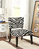 King's Brand Zebra Velvet Fabric With Black Finish Wood Legs Accent Chair