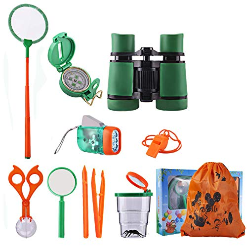 Outdoor Adventure Set for Kids, Exploration Kit Nature Educational Toy Pack of 12, Binoculars, Flashlight, Compass, Magnifying Glass, Whistle, Butterfly Net, Bug Viewer for Backyard Camping