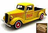 Diecast Car & Accessory Package - 1937 Ford Pickup Truck, Yellow - Motorcity Classics 433213 - 1:24 Scale Diecast Model Toy Car w/display case