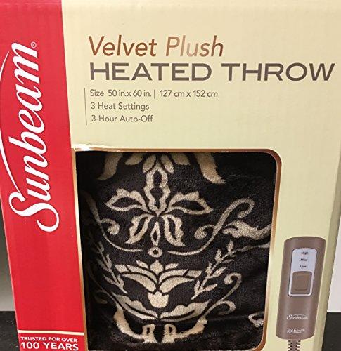 Sunbeam Electric Heated Plush Blanket Throw with 3-Heat Sett