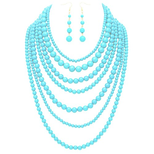 Rosemarie Collections Women's Fashion Jewelry Set Beaded Multi Strand Bib Necklace (Sky Blue)