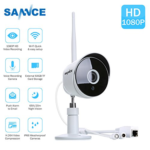 SANNCE 1080P FULL HD Wireless Security Camera System, Outdoor WiFi IP Camera,IP66 Weatherproof, White