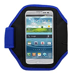 "CoverON® BLUE / BLACK UNIVERSAL SPORT ARMBAND CASE WITH KEY SLOT (5.5"" X 3"") APPLE IPHONE / SAMSUNG I9300 GALAXY S3 [WCD96]"