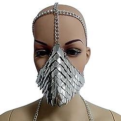 Unique Metal Head Chain Mask Face Jewelry