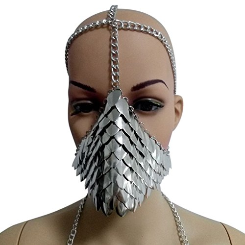 Unique Fashion Metal Head Chain Mask Face Jewelry for Halloween Cospaly Party Fancy Dress Ball -
