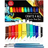 Acrylic paint 12 set by Crafts 4 All Perfect for canvas,wood,ceramic,fabric & crafts.Non