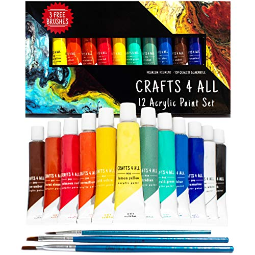 Acrylic Paint Set 12 Colors by Crafts 4 ALL Perfect for Canvas, Wood, Ceramic, Fabric. Non Toxic & Vibrant Colors. Rich Pigments Lasting Quality for Beginners, Students & Professional Artist