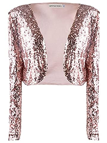 Anna-Kaci Womens Shiny Sequin Long Sleeve Glitter Cropped Blazer Bolero Shrug, Rose Gold, X-Large - Cocktail Dress Jacket