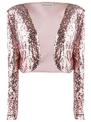 Anna-Kaci Womens Shiny Sequin Long Sleeve Glitter Cropped Blazer Bolero Shrug, Rose Gold, Large