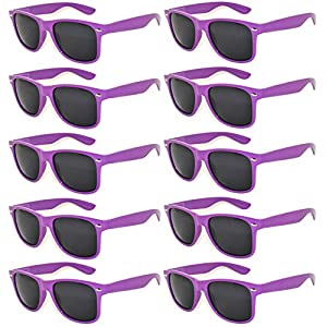 Vintage Retro Eyeglasses Sunglasses Smoke Lens 10 Pack Colored Colors Frame OWL (Purple_10_Pairs, PC Lens)