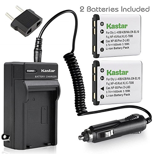 Kastar Charger + 2 Battery For Olympus Stylus 820 830 840 SW 725 SW 770 SW 790 SW 850 SW FE190 FE220 Digital Camera + car plug (770sw Stylus)