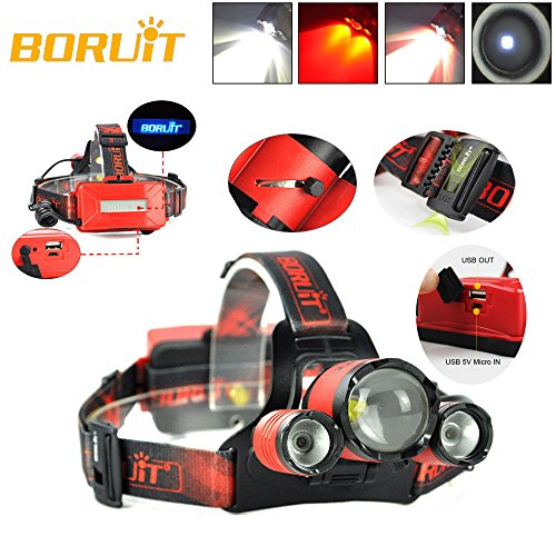 BORUIT B22 Rechargeable Zoom XM-L2+2X XPE Red LED Hunting Headlamp Micro USB Headlight Torch
