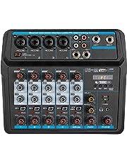 Depusheng U6 Sound Mixing Console Bluetooth USB Opname Computer Afspelen 48V Fantoomvoeding Vertraging Herhaaleffect 6 Kanalen USB Audio Mixer voor Computer Opname, Bands