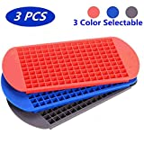 160 Grids Ice Cube Trays Mini Tiny Silicone Ice Cube Trays and Candy Grids Small Ice Maker Tiny Ice Cube Trays Chocolate Mold Mould Maker Molds for Kitchen Bar Party Drinks with Variety Color(3-Pack)