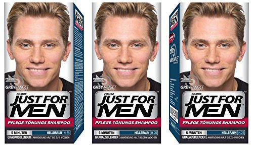 3x JUST FOR MEN Pflege-Tönungs-Shampoo hellbraun (je 66ml)