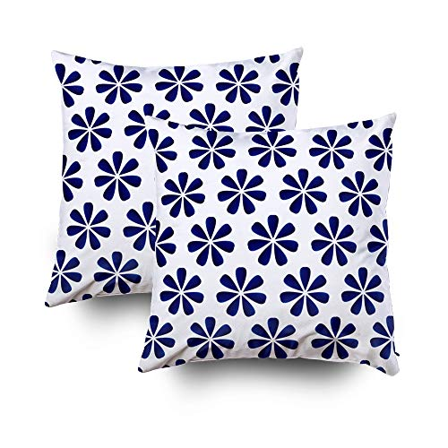 ROOLAYS Decorative Throw Square Pillow Case Cover 18X18Inch,Cotton Cushion Covers porcelain flower chinese blue pattern Both Sides Printing Invisible Zipper Home Sofa Decor Sets 2 PCS Pillowcase
