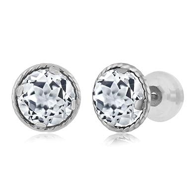 Amazon Com 14k White Gold White Topaz Stud Earrings 1 80 Ctw