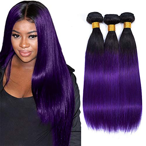 Ombre Straight Hair Bundles 3pcs, Ombre Brazilian Virgin Hair Human Hair Weave Two Tone Black to Purple (T1B/Purple,14 16 18)
