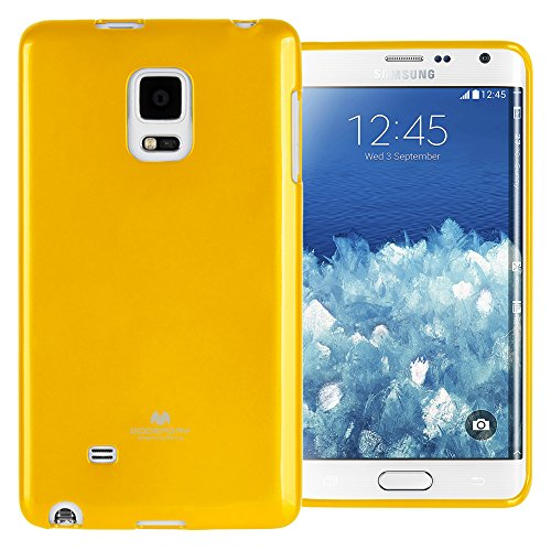 GOOSPERY Marlang Marlang Galaxy Note 4 Edge Case - Yellow, Free Screen Protector [Slim Fit] TPU Case [Flexible] Pearl Jelly [Protection] Bumper Cover for Galaxy Note4Edge, NT4E-JEL/SP-YEL