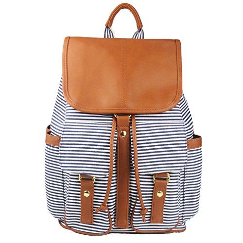 Imiflow Casual Backpack Purse School Daypacks Travel Rucksack Girls Women (Tan)