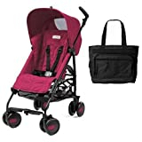 Peg Perego Pliko Mini Stroller with Diaper Bag- Fleur Pink