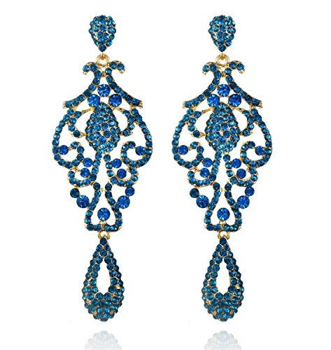 - Large Pageant Austrian Crystal Rhinestone Chandelier Dangle Earrings Prom E2090 (Teal)