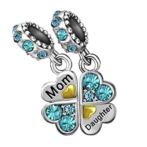 T50Jewelry Mom Daughter Charm Heart Mother Love December Charm Beads for Bracelets