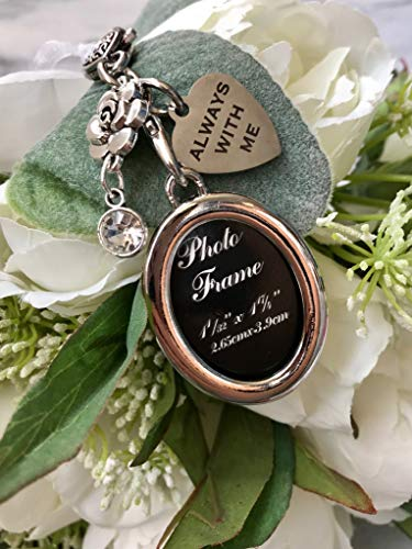 Family Member Lost Remembrance Piece or Wedding Memorial Bouquet Charm Photo Always with You Wedding Memorial Gift ()